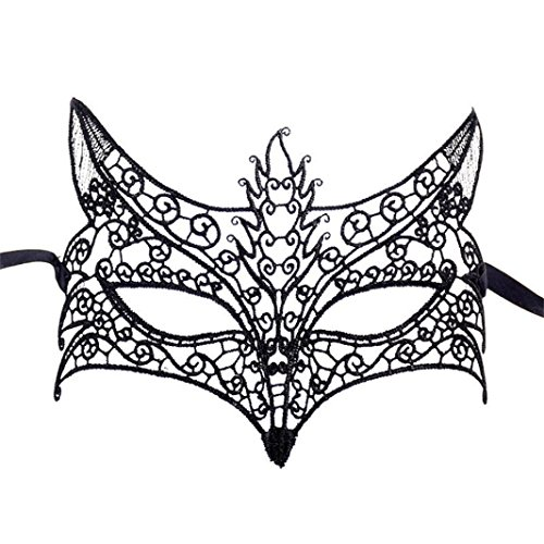 MaxFox Halloween Lace Mask Catwoman Masquerade Party Mask Accessories (L) -