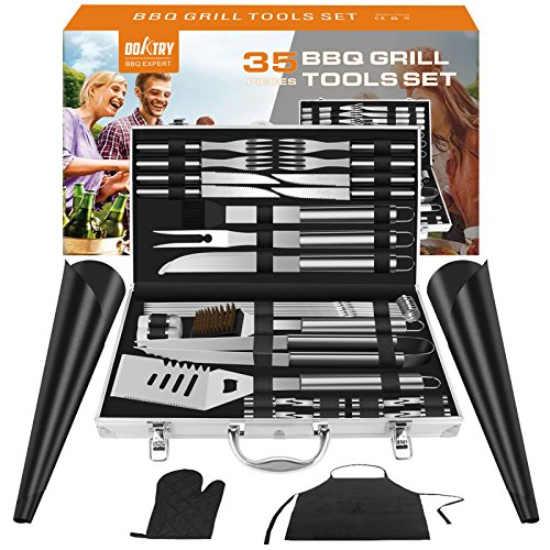 Doatry BBQ Grill Tools Set with 35 Barbecue Accessories - Stainless Steel Grill Utensils with Aluminium Storage Case - Complete Outdoor Grilling Kit for Family,Friend & Colleague, Best Gift for Man