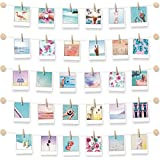 BIZYAC Photo Display Family Wall - Easy Install Self Adhesive 3M Hanging Display String with Clips - No Wall Holes Drilling - Size 30 x 30 inch - 10 Wooden Button Holders