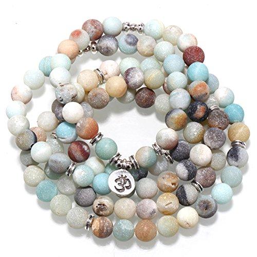 Zhepin 8MM Amazonite 108 Mala Beads Charm Bracelet for Men Women Yoga Bracelet Necklace by Zhepin (Image #2)