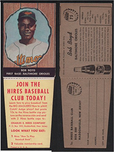 1958 Hires Root Beer With Tabs (Baseball) Card# 75 Bob Boyd of the Baltimore Orioles VG Condition