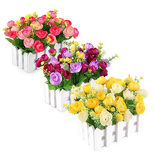 Louis Garden Artificial Flowers Fake Rose in Picket Fence Pot Pack - Mini Potted Plant ()