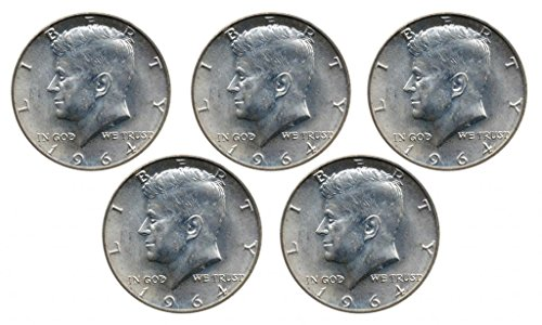 1964 Set of 5 - 90% Silver John F Kennedy JFK Half Dollar Circulated Very Fine