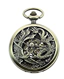 LYMFHCH Mens Antique Phoenix and Dragon Roman Number Dial Skeleton Mechanical Pocket Watch