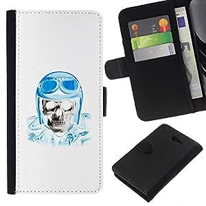 Be-Star la tarjeta de Crédito Slots PU Funda de cuero Monedero caso cubierta de piel Sony Xperia M2 ( Biker Helmet Blue Skull Pilot White )