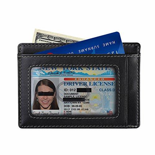 - amelleon RFID Blocking Slim Wallet,Minimalist Front Pocket Wallet Made of Full Grain Leather (Black)