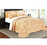 4 Piece Salmon Pink Orange Queen Bedspread Set, Floral Themed Bedding Stylish Vintage Antique Pretty Classic Elegant Shabby Chic Scalloped Flower Garden Damask French Country, Microfiber, Polyester
