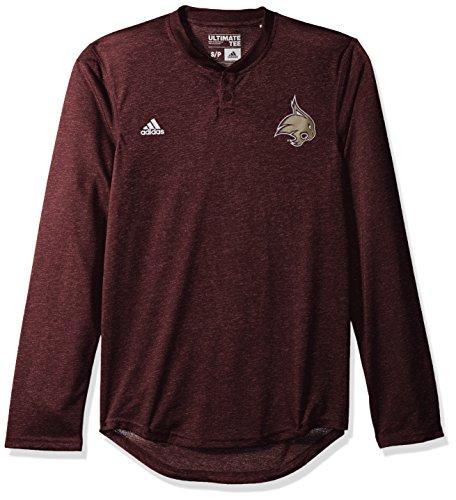 - adidas NCAA Texas State Bobcats Adult Men Logo L/S Henley Tee,Large,Maroon