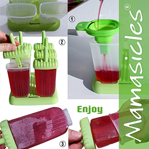 Healthy Clean Eating. Popsicle Molds with Sticks Ice Pop Maker | 6 Pieces BPA Free Silicone Funnel and Cleaning Brush | Clearance Sale by Mamasicles