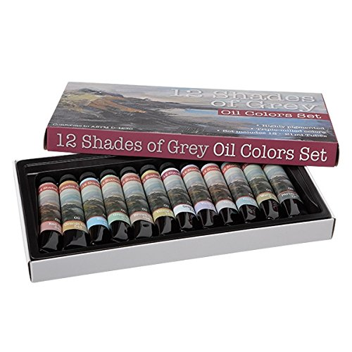 12 Shades of Grey Artist Oil Colors Highly Pigmented Triple Milled Rich Subtle Greys From The Tube - Set of 12 - 12 ml Tube - Assorted Colors