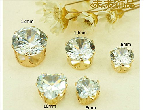 ZIJING Gold Round Heart Clear Czech Glass Rhinestone Rose Montees Beads With 4 Holes for Sew On (10mm--15pcs, round style) by ZIJING