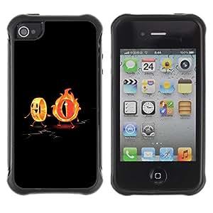 Suave TPU Caso Carcasa de Caucho Funda para Apple Iphone 4 / 4S / Flaming Eye & The Ring Funny / STRONG