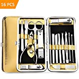 HEYFYV Manicure Set Pedicure Kit Nail Clippers Professional Grooming Kit Stainless Steel Toenail Care Cutter Tools with Luxurious Travel Case Gold 16pcs
