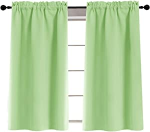 Rod Pocket Curtians for Glass Door Tiers for Kitchen Laundry Room Light Reducing 40 Inches, 2 Panels, Grass Green