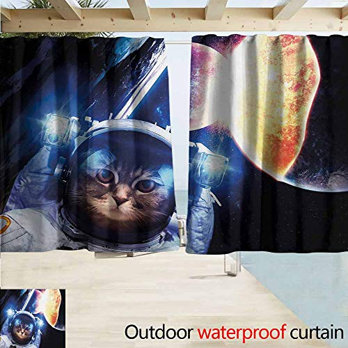AndyTours Outdoor Patio Curtains,Space Cat Kitten with Space Suit Planets Nebula Supernova Eclipse Artwork,Drapes for Outdoor Decor,W55x39L Inches,White Orange and Dark Blue