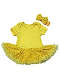 Valentine Baby Dress Yellow Plain Bodysuit Rose Tutu Romper Set Nb-18m
