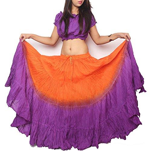 Women's Tie Dye Belly Dance Tribal Skirt 25 Yards Waist Tie Dye 100% Cotton Handmade and Hand Dyed Orange Purple