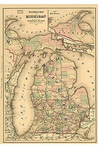 Railroad Map of Michigan prepared for Commissioner of Railroads; 1876 - Michigan Antique Map