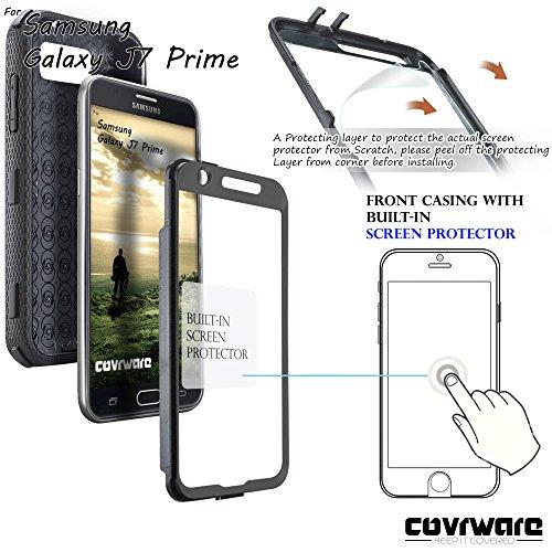 Samsung Galaxy J7 Prime/J7 Sky Pro/J7 Perx/J7 V 2017/J7 2017 Case, COVRWARE [Aegis Series] w/Built-in [Screen Protector] Heavy Duty Full-Body Rugged Holster Armor Cover [Belt Clip][Kickstand], Black by COVRWARE (Image #2)
