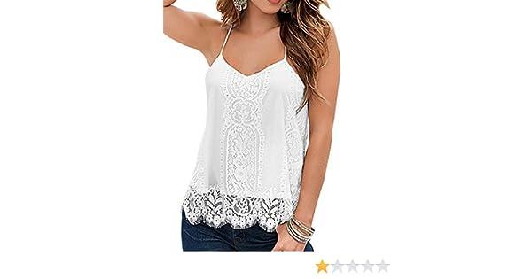 Para mujer correa de espagueti encaje Crochet espalda cruzada blanco camiseta de tirantes(L): Amazon.es: Hogar