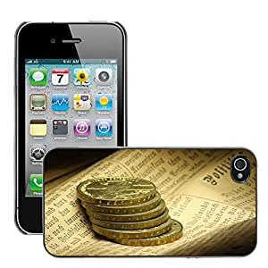 Hot Style Cell Phone PC Hard Case Cover // M00169235 Coins Newspaper Monument Writing // Apple iPhone 4 4S 4G