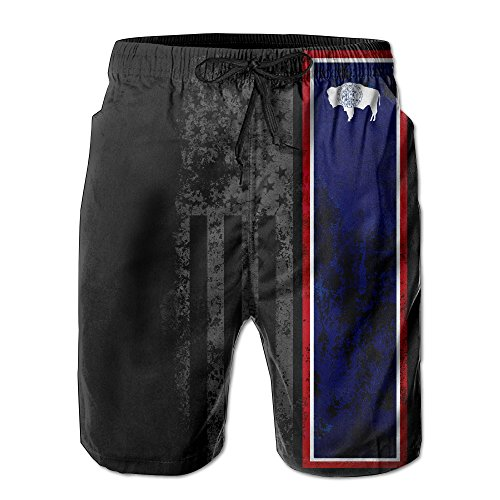 NED1982 Men USA Wyoming State Flag Summer Holiday Quick-drying Swim Trunks Beach Shorts Board Shorts Large