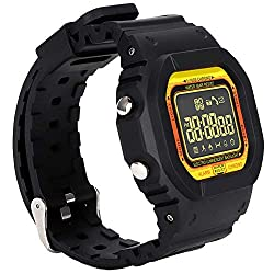 Zopsc Outdoor Sport Watch Waterproof LCD Square Screen Smart Phone Information Reminder Luminous Dial One-Touch Remote Photography Alarm Clock Long Standby Time (Black Pink Orange)(Orange)