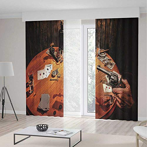 Small Window Blackout Curtains,Western,for Bedroom Living Dining Room Kids Youth Room,Gambler Holding a Revolver Gun Poker Cards Table Drinks Cigars Dark Saloon Decorative2 Panel Set,70W X 98L Inches