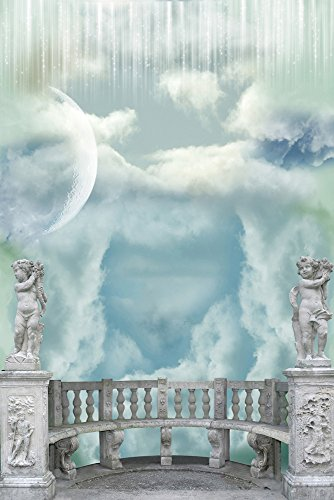 Dreamy sky Theme Photography Background Pictorial cloth 6X9ft Balcony statue moon White clouds Customized Computer-Printed Vinyl Seamless Waterproof Photo Studio Backdrop prop