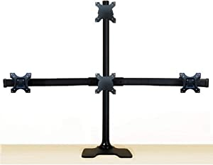 "EZM Deluxe Pyramid Quad Monitor Mount Stand Free Standing with Grommet Mount Option up to 28"" (002-0030)"