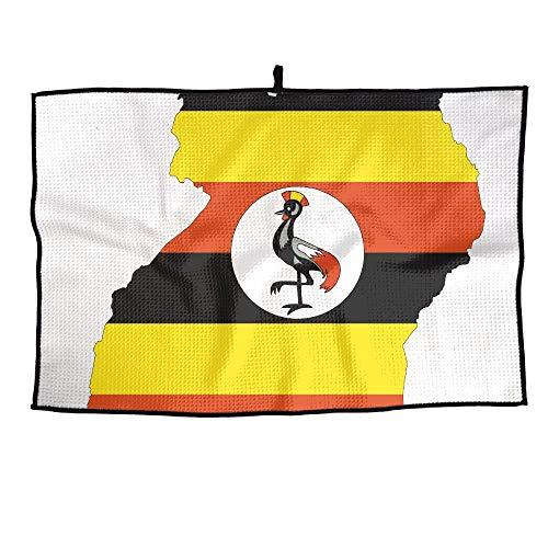 HenSLK Uganda Flag Grid Microfiber Cooling Golf Towel Light Weight & Quick Drying & Super Absorbent Sport Travel Towel for Activities (Mlb Personalized Golf Towels)
