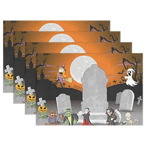 Halloween Charaters Print Placemats, Heat-ristant Placemats Stain Ristant Anti-Skid Washable Polyter Table Mats Non Slip Easy Clean Placemats, Set of 6 -