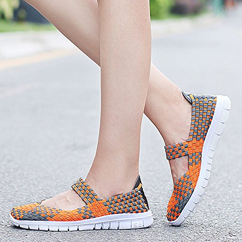 Tejidos Mujer Zapatillas Naranja Caminar Transpirables Para Deportivos Qansi Zapatos Ligeras wIxtRYxaq
