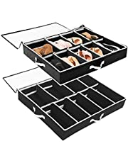 Under Bed Shoe Organizer SOLEDI Under Bed Shoe Storage 2 Set with Durable Handle & Clear Window Adjustable Dividers Fits 24 Pairs Total 38.5cm*32cm*9.5cm(Black)