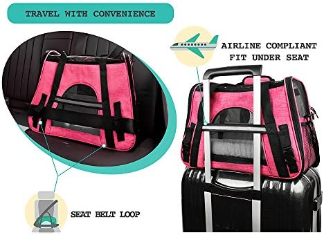 PetAmi Premium Airline Approved Soft-Sided Pet Travel Carrier by Ventilated, Comfortable Design with Safety Features | Ideal for Small to Medium Sized Cats, Dogs, and Pets 8