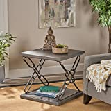 Elliott Industrial Faux Wood Side Table, Grey