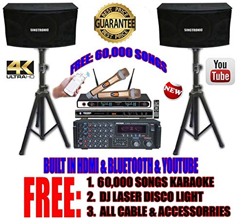SINGTRONIC PROFESSIONAL 2000 WATTS COMPLETE KARAOKE SYSTEM PACKAGE FREE: 60,000 KARAOKE SONGS, BUILT HDMI & BLUETOOTH