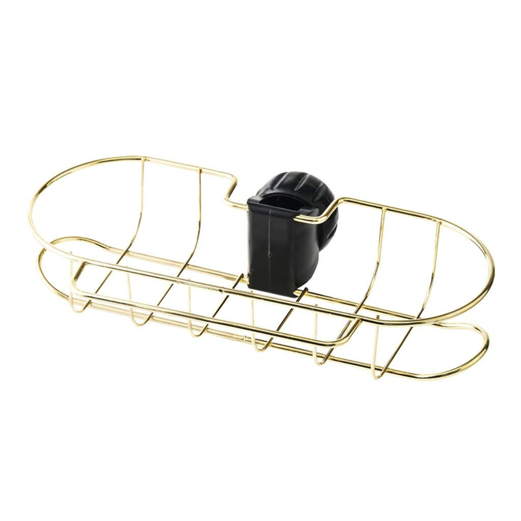 Bathroom Organizer Kitchen Faucet Storage Rack Creative Adjustable Storage Rack Hanging Basket Household Items Bathroom Storage (Color : Gold)