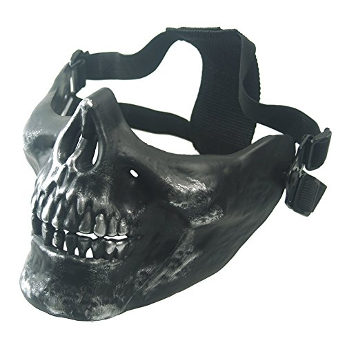 (Aiyuda Skull Skeleton Half Face Mask Hard Protective Gear for Airsoft Paintball Hunting CS Wargame Masquerade Costume Party Halloween Silver)