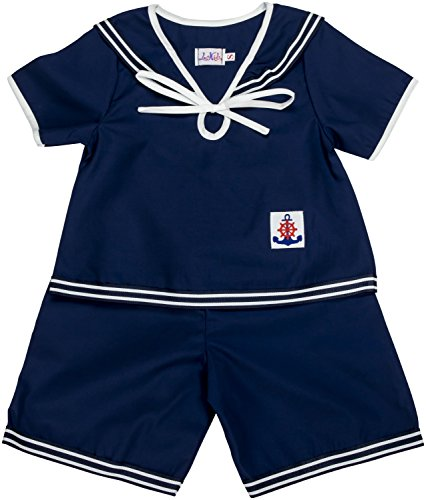 Anchor Sailor Navy Short (Lace Kids Nautical Navy Outfits (Medium - 3 to 4 Years, Navy - Shorts))