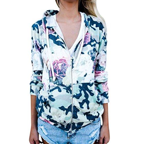 ZXZY Women Long Sleeve Zip Front Pocket Camouflage Florals Print Hoodies Tops Front Pocket Zip Hoodie