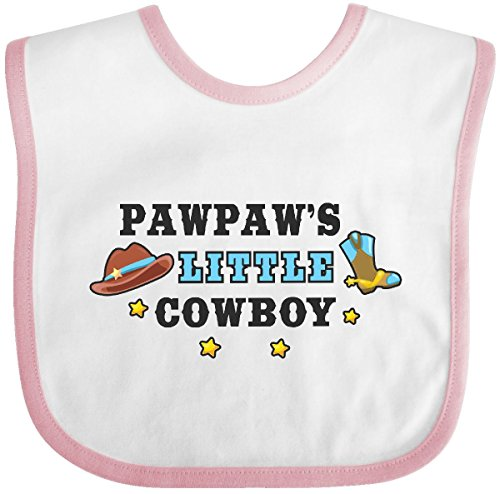 Inktastic - Pawpaws Little Cowboy with Cowboy Hat and Boots Baby Bib (Pink And White Cowboy Boots)
