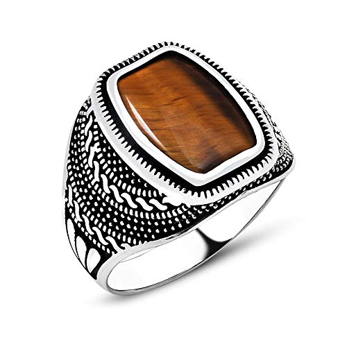 argunjewellery Turkish Ottoman Cool Nice Tiger's Eye 925K Sterling Silver Men's Ring ()