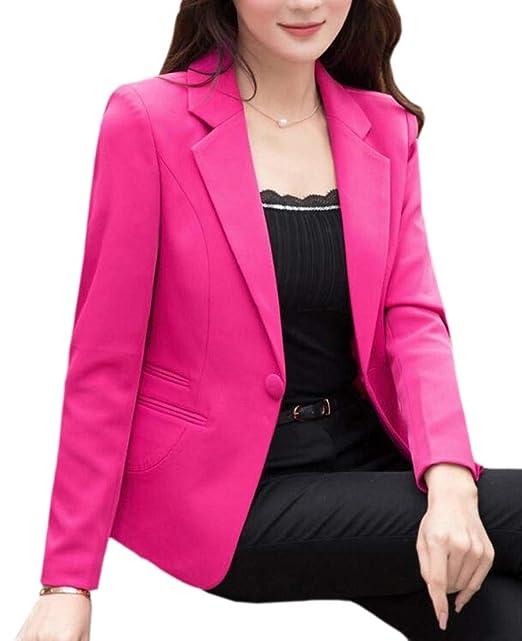 Amazon.com: WSPLYSPJY - Chaqueta para mujer, color sólido ...