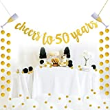Glittery Gold Cheers to 50 Years Banner for 50th Birthday Wedding Anniversary Party Decoration