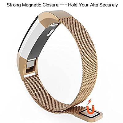 Fitbit Alta Bands, Fitbit Alta HR Bands, Milanese Loop Stainless Steel Metal Replacement Wristbands Straps, Bracelet Accessories Band with Unique Magnetic Closure Clasp, Silver, Black, Gold …