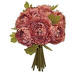 12-Ranunculus-Artificial-Silk-Wedding-Bridal-Bouquet-Flowers-10-Heads-Muave