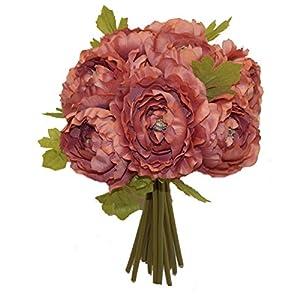 "12"" Ranunculus Artificial Silk Wedding Bridal Bouquet Flowers 10 Heads (Muave) 16"