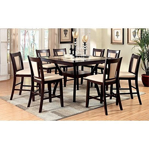 Furniture of America Melott 9 Piece Counter Height Dining Set Counter Height Nine Piece
