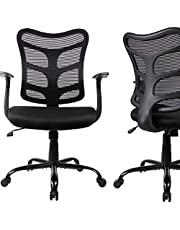 Ergonomic Office Chair Mid Back Mesh Computer Desk Swivel Task Chair with Armrests, Black
